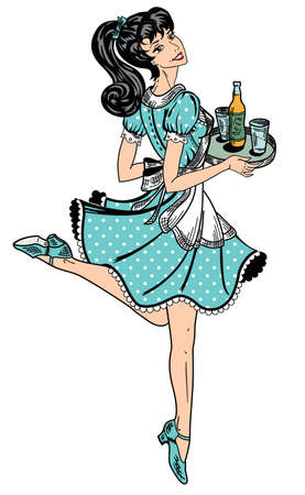 pin up: color waitress in retro style brings beer order
