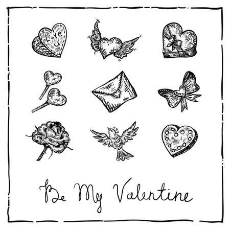 retro ink Valentine invitation card Vector