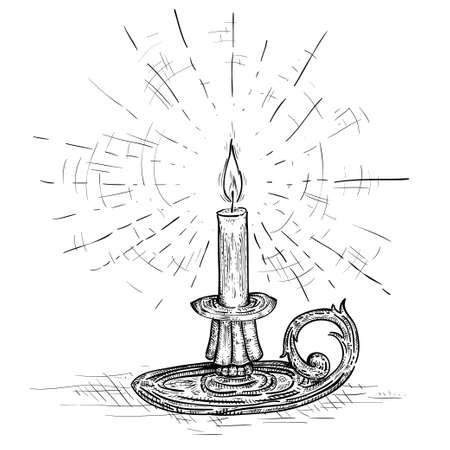 candle on candlestick burning with light of hope and faith Vettoriali