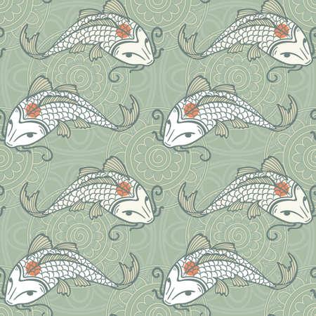 koi pond: Koi carp seamless texture, tancho breed