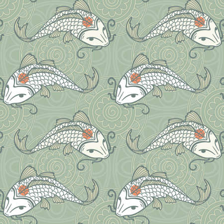 coi carp: Koi carp seamless texture, tancho breed