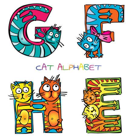 cat alphabet e f g h Vettoriali