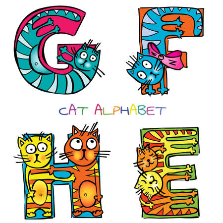 cat alphabet e f g h Illustration