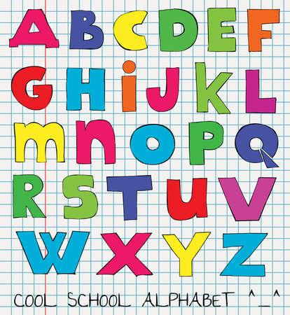 colorful funny kids alphabet