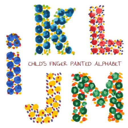 finger paint: colorful funny paint alphabet i,k,l,m,j letters