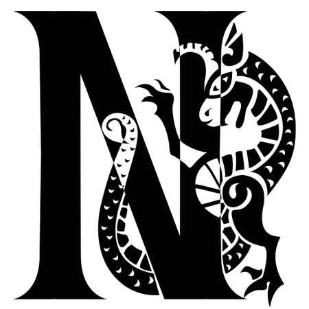 horny: capital letter N with gargoyle