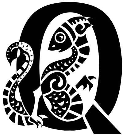 horny: gargoyle capital letter Q Illustration