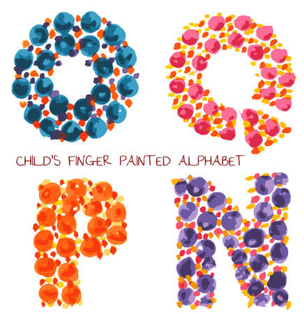 colorful funny paint alphabet o,q,p,n letters Vector