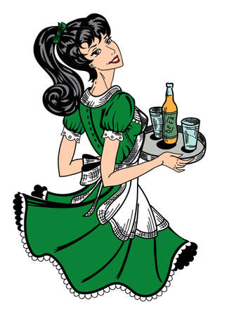 Patricks day theme retro waitress Vector