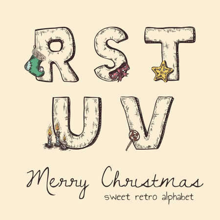 retro christmas alphabet - r, s, t, u, v Stock Vector - 19759238