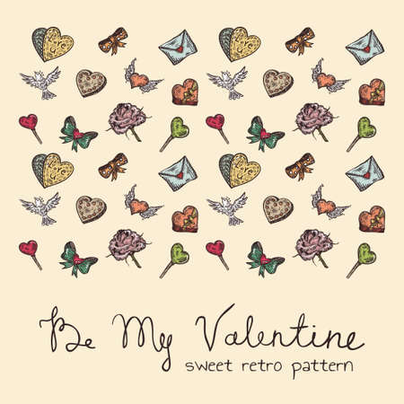 sweet retro seamless Valentine pattern Stock Vector - 19759302
