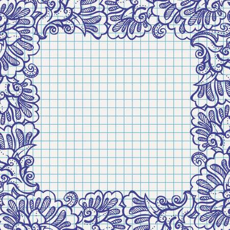 ball pen floral frame on school paper Illustration