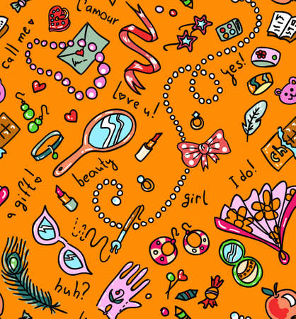 Bright orange seamless pattern with woman accessories Vector