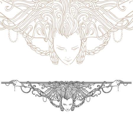ビンテージ刻まれた女性として、フラグメントを間近で詳細なアール ヌーボー様式の装飾的なディバイダー  イラスト・ベクター素材