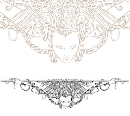 Detailed art-nouveau decorative divider as vintage engraved woman, with close up fragment  Vector