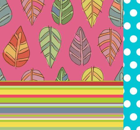 children s art: Bright seamless seasonal patterns set, autumn