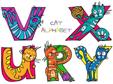alfabeto con animales: cat alfabeto ruvxy Vectores