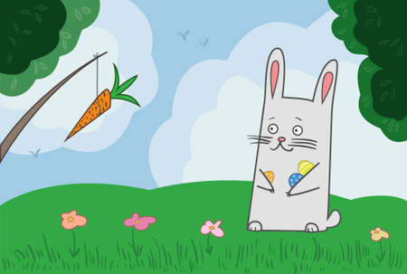 easter bunny and carrot Vector