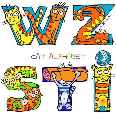 cat alphabet i s t w z Vector
