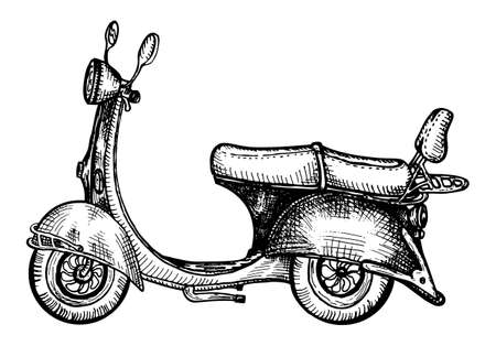 retro scooter drawing in engraving style Vettoriali