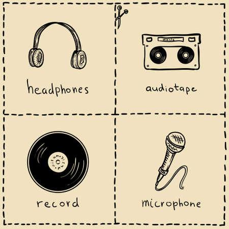 music equipment doodles set