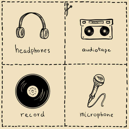 headphones icon: music equipment doodles set