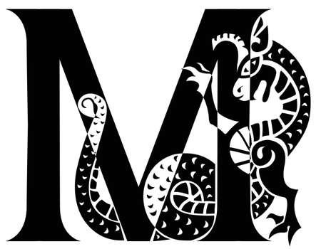 gargouille: lettre majuscule M avec gargouille Illustration
