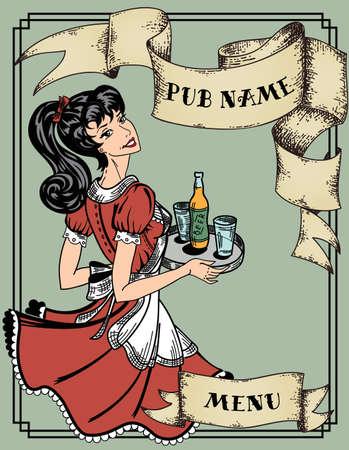 pin up girl: vintage menu for pub or cafe