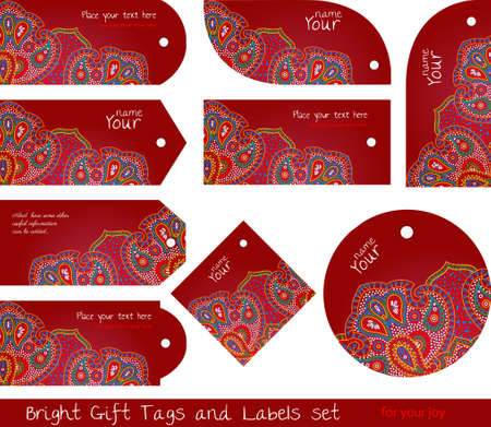 floral paisley red tag set for gifts and goods Stock Vector - 20633520