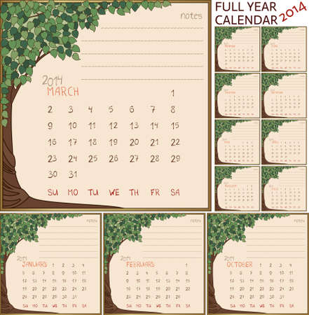 2014 year calendar, months in green tree frame