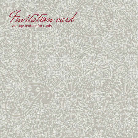 Grey vintage non seamless floral invitation card texture Vector
