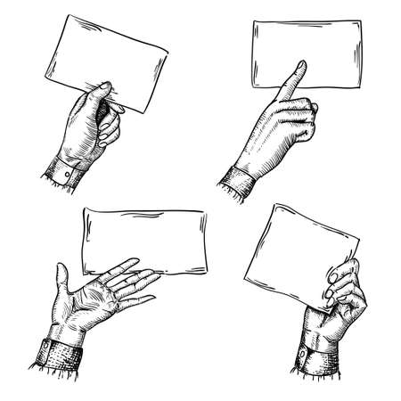 set of engraving style hands with blank cards Stock Vector - 20633500