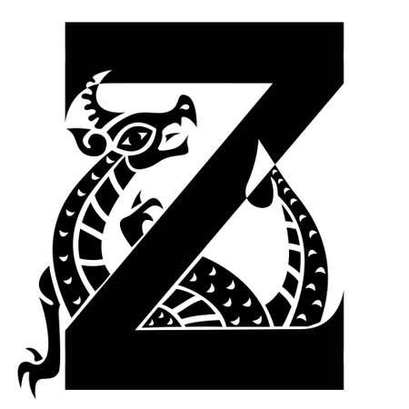 horny: capital letter K with gargoyle
