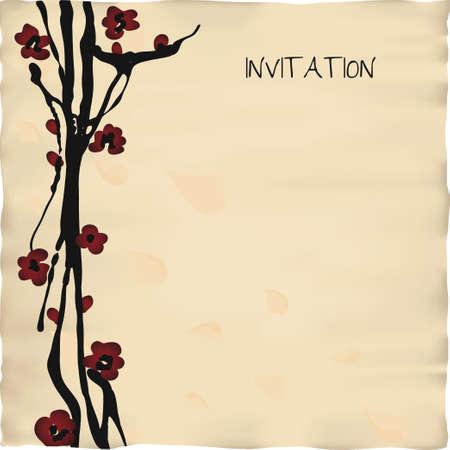 일본어 또는 중국어 스타일 초대 카드 템플릿 일러스트