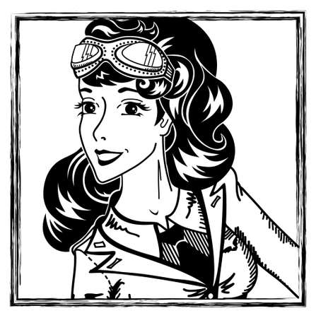pin-up aviation girl portrait Vector