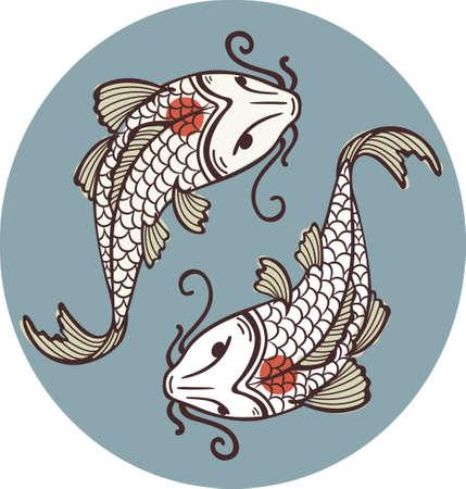 koi pond: Koi carps tancho - yin yan symbol