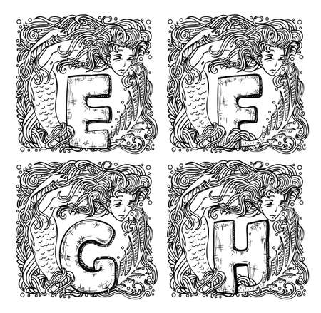retro mermaid alphabet - e, f, g, h Stock Vector - 20839517