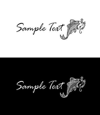 carp koi silhouette, business card concept Vector