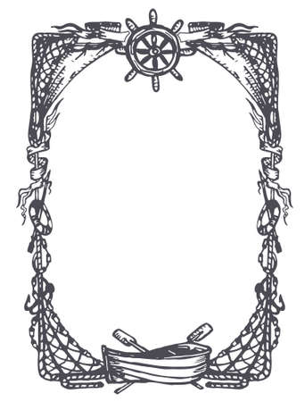 Vintage nautical and marine frame Vector