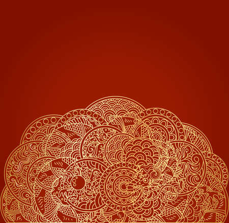 pape: Red asian background with golden dragon ornament