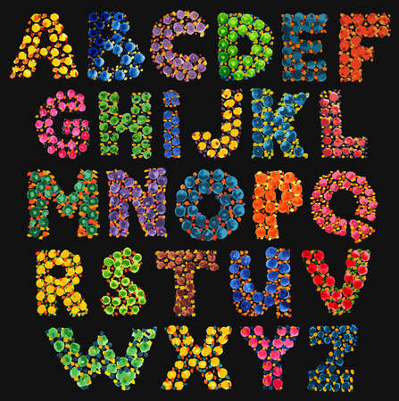 Colorful funny acid alphabet on black