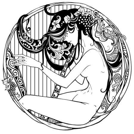 Gedetailleerde art-deco decoratief vignet als moderne satyr vrouwelijke harpspeler Stock Illustratie