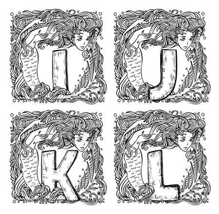 retro mermaid alphabet - i, j, k, l Stock Vector - 21645387