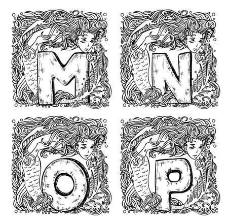 retro mermaid alphabet - m, n, o, p Vector