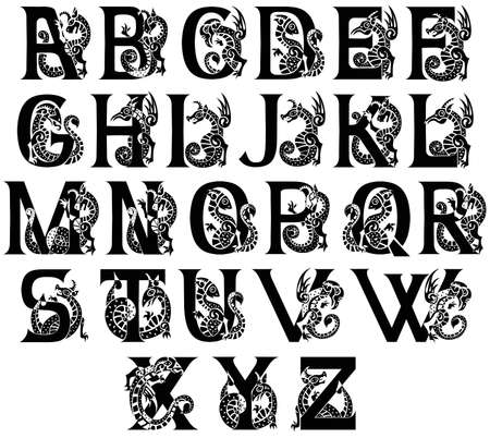 medieval alphabet with gargoyls and chimeras