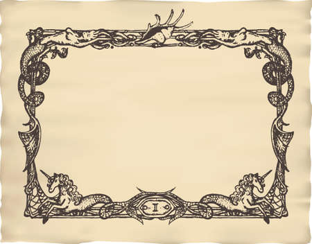 page border: Vintage marine frame with mermaids and sea horses