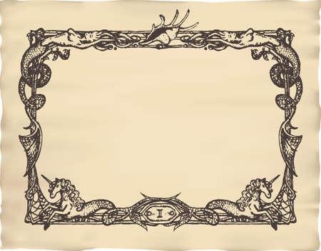 unicorn fish: Vintage marine frame with mermaids and sea horses