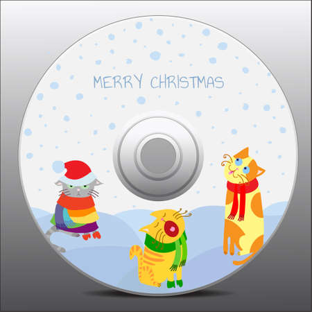 christmas cats, design for cd cover Vector