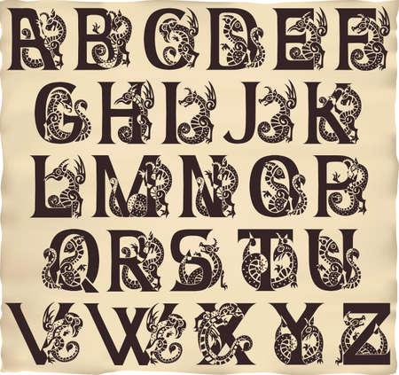 gothic alphabet with gargoyls in medieval style