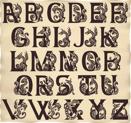 gothic alphabet with gargoyls in medieval style